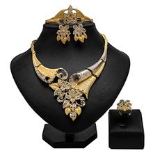 2020 moda afrykańskie koraliki zestaw biżuterii nigeryjczyk kobieta zestaw biżuterii ślubnej marki Dubai Gold zestawy biżuterii ślubnej hurtowych tanie tanio ougui Ze stopu cynku Dziewczyny Kobiety Metal Biuro kariera bjs235 Necklace Earrings Bracelet Ring Naszyjnik kolczyki pierścień bransoletka