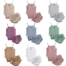 3M-24M 2PCS Sommer Neugeborenen Kind Baby Mädchen Kleidung Strick Crop Tops + Shorts Outfits(China)