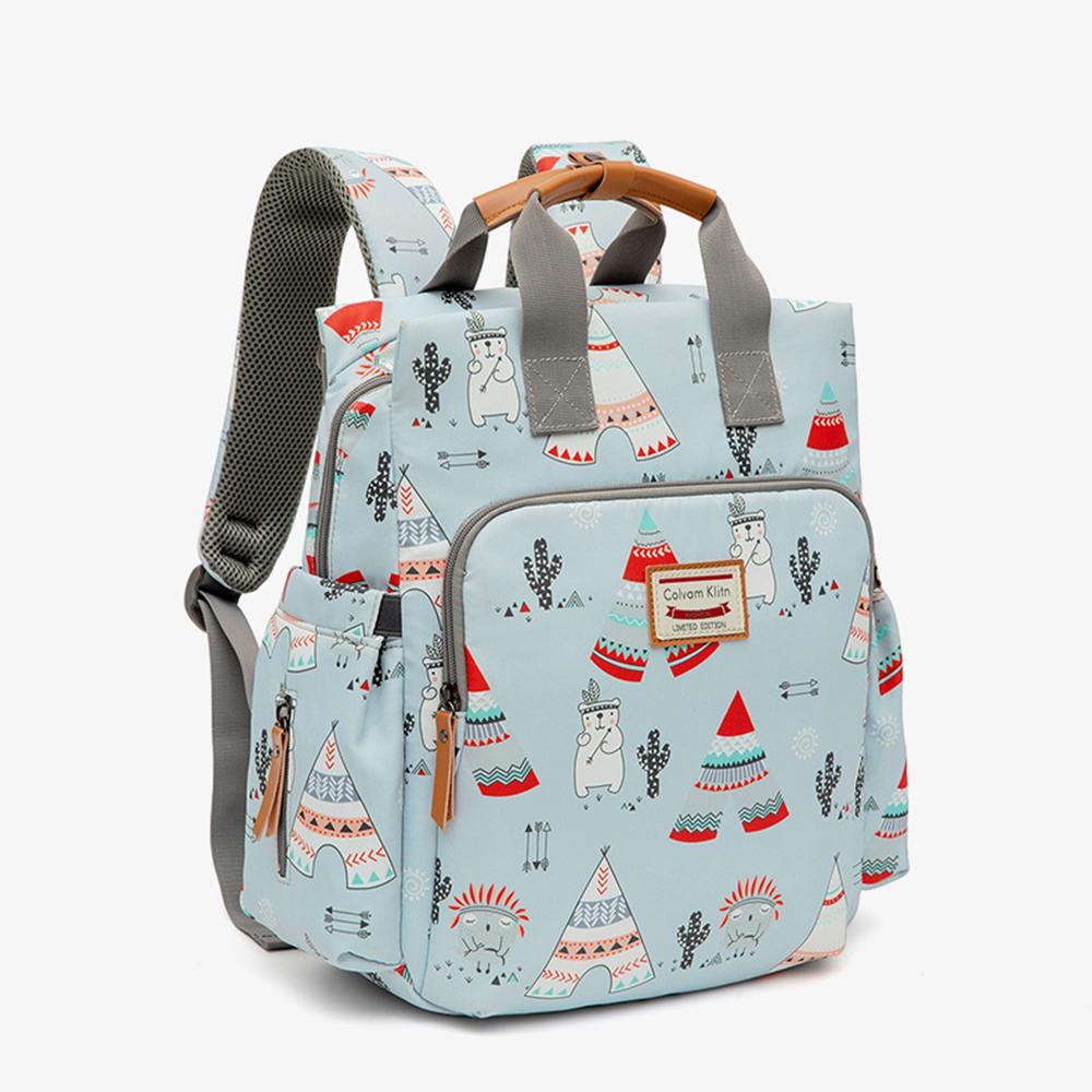 Waterproof Cartoon Diaper Bag Large Capacity Mother And Baby Backpack Maternity Floral Printing Nappy Bag For Travel Stroller