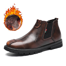 Chelsea Boots Men Shoes Classic Vintage Male Waterproof Winter Genuine-Leather Casual