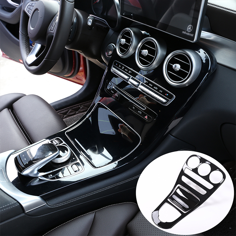 Gloss Black ABS Car Center Console Gear Shift Panel Cover Trim For <font><b>Mercedes</b></font> Benz C GLC Class W205 C180L C200L <font><b>C300</b></font> GLC260 15-18 image