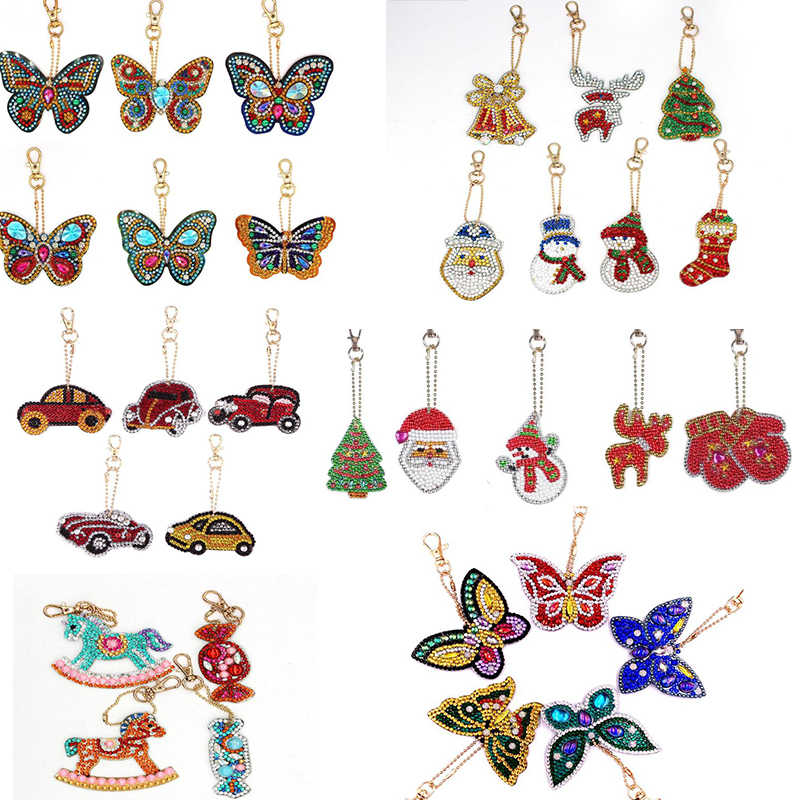 Butterfly car Design Diy Diamond Keychain Painting Christmas Gift Diy Special Full Drill Shaped Santa Claus Woman Girl Keyring