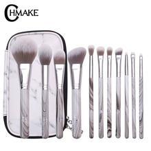 CHMAKE 11PCS Marble Makeup brushes Set professional Make up Brush Tools kit powder highlighter lifelike-synthetic hair