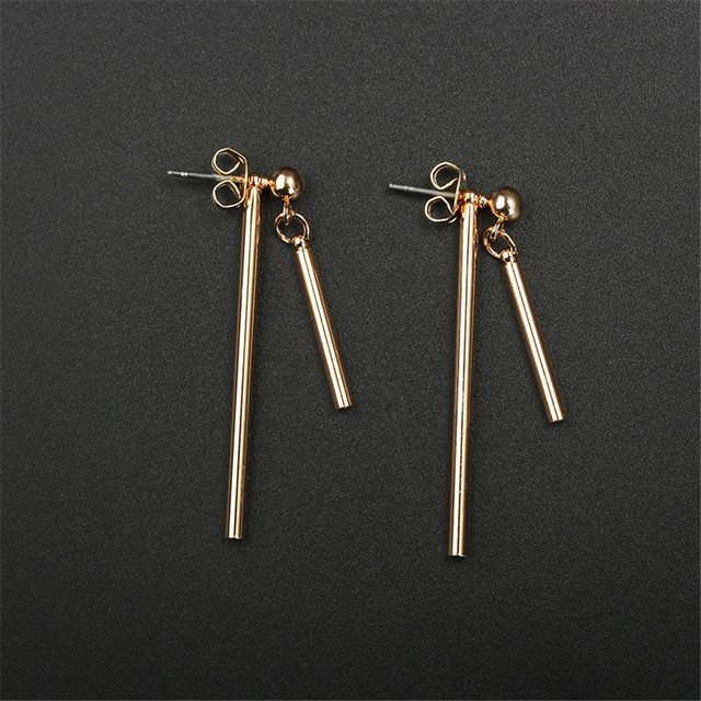 LT Simple Design T Bar Ear Stud Earrings For Womne Long Stick Gold Silver Color Asymmetrical.jpg 640x640 - LT Simple Design T Bar Ear Stud Earrings For Womne Long Stick Gold Silver Color Asymmetrical Stick Earring Gifts Jewelry Q-049