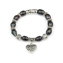 100% Natural Freshwater Pearl Bracelets Black Elastic Rope Pearl Bracelets with Heart Pendent  Fine Jewelry Gift for Women Girls nymph seawater pearl bracelets fine jewelry near round natural pearl bangles for women gold trendy anniversary gift [s308]
