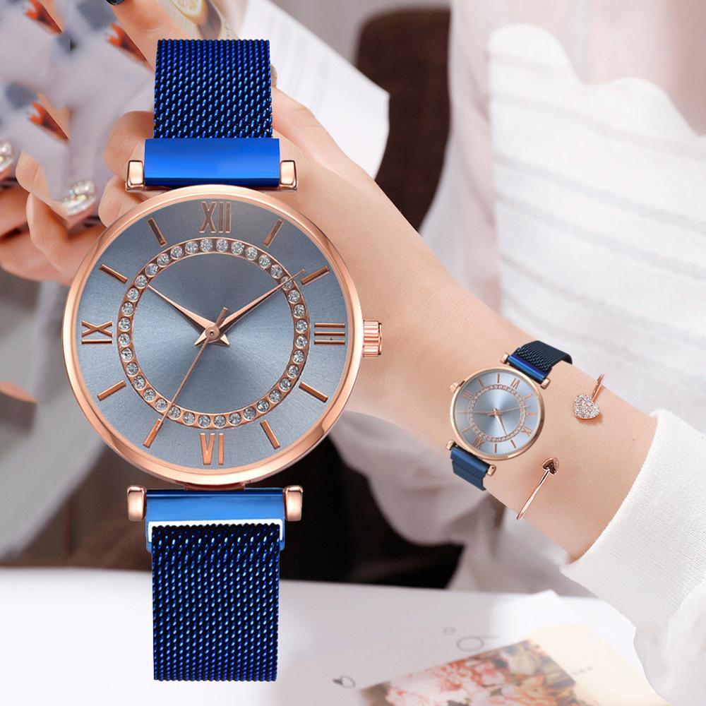 New Ladies Dress Wristwatches Top Brand Luxury Diamond Women Magnet Quartz Watch Female Waterproof relogio feminino