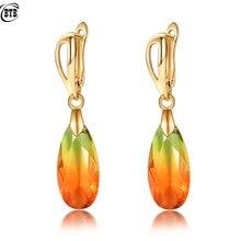 10*37 mm Water Drop Gradient Tourmaline Orange Long Earrings Women 585 Rose Gold Fashion Jewelry Glass Zircon Dangle Earrings