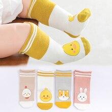 Для новорожденных и детей ясельного возраста гольфы детские носки для девочки, мальчика с противоскользящим покрытием и очаровательными изображениями котенка/лисьи гетры носки для новорожденных теплые длинные носки до колена