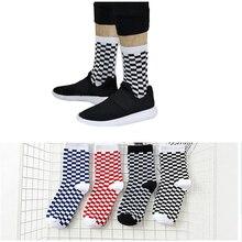 6pairs Korea Harajuku Men Checkerboard Socks Geometric Checkered women Hip Hop Cotton Unisex Streetwear Novelty