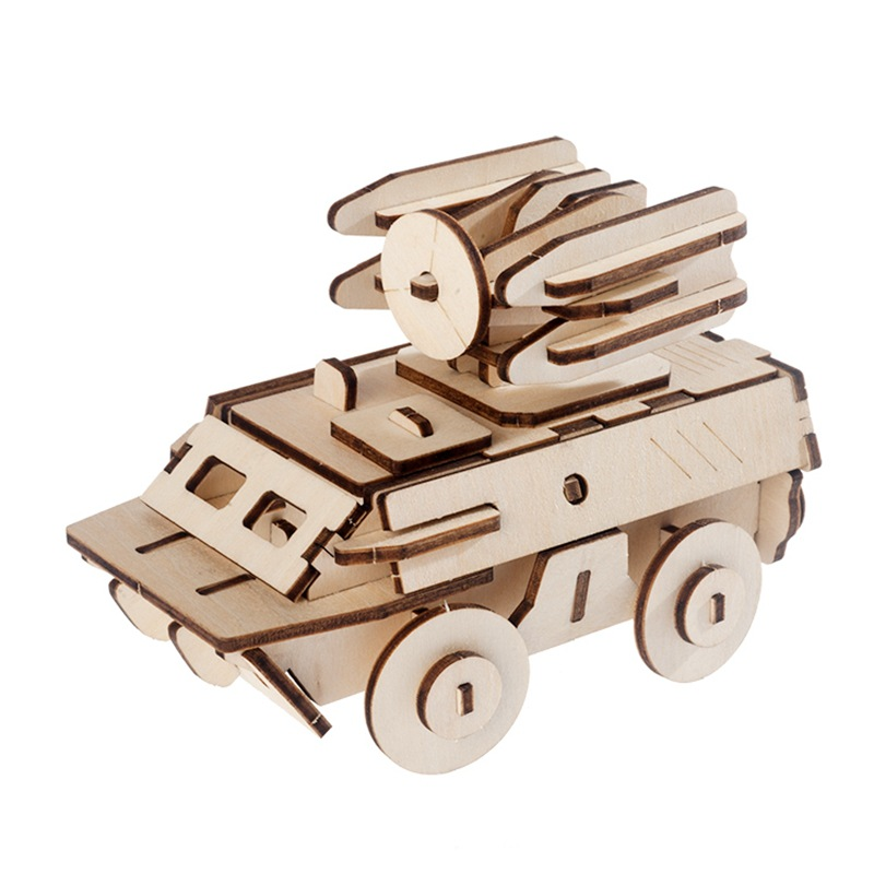 3D Wooden Three-dimensional Jigsaw Puzzle Children's Intelligence DIY Puzzle Board Toy Wooden Car Airplane Laser Cutting 4