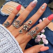 Tocona Antike Silber Farbe Vintage Bmen Ring Set Rose Blume Ringe fr Frauen Charme Bhmen Floral Knuckle Ring