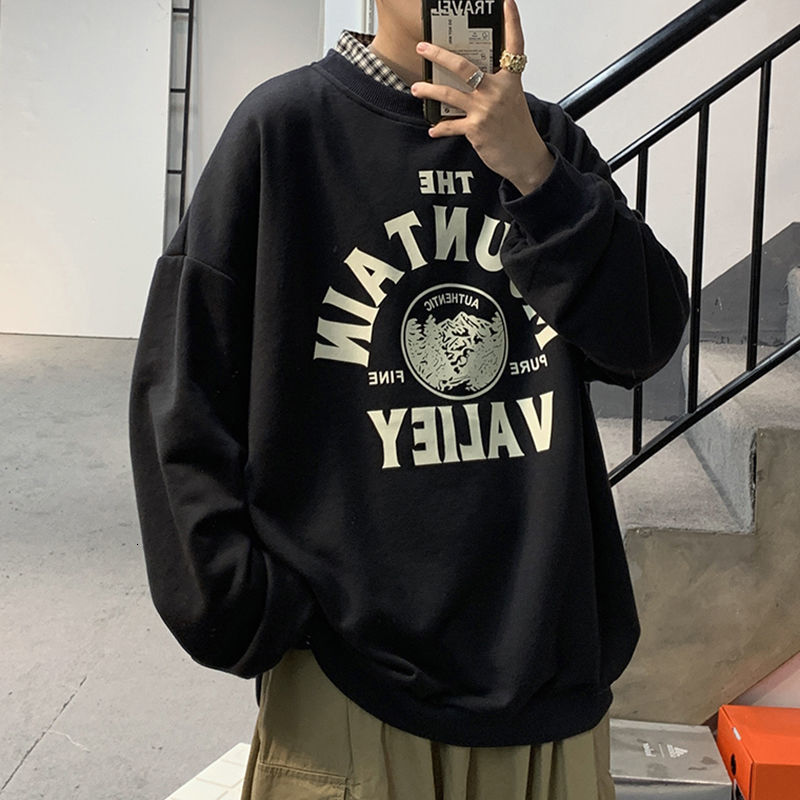 Privathinker Graphic Printed Men's Black Sweatshirts 2020 Autumn Men Casual O-neck Pullovers Hoodies Korean Man Sweatshirts Tops