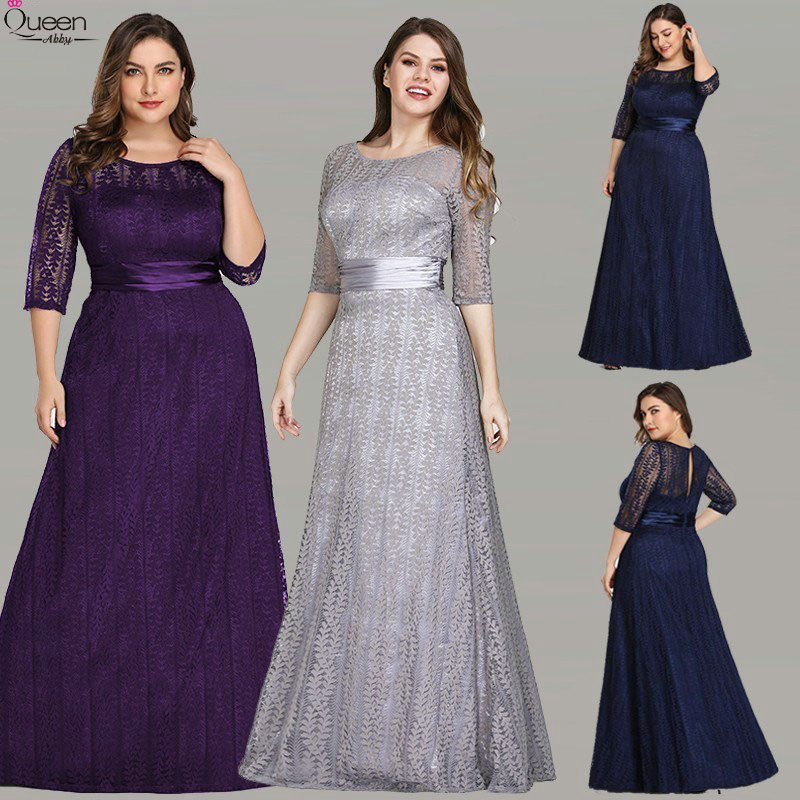Plus Size Lace Evening Dresses Long Grey A-line O-Neck Lace Half Sleeve Elegant Formal Party Gowns With Sashes For Wedding