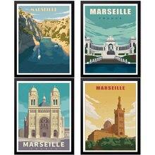 França marseille calanques parque nacional vintage viagens poster lona pintura da parede arte kraft revestido wallsticker decoração casa presente
