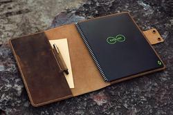 Gepersonaliseerde Lederen Cover Map voor Rocketbook Everlast Uitwisbare Wirebound Notebook 8.5x11 inch Brief Size NL05RBS