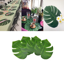 12pcs/set Hawaiian Party Artificial Green Palm Leaves Summer Tropical Simulation Plant Home Decoration