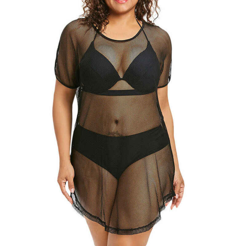 Panas Wanita Hitam See-Through Mesh Gaun Sheer Maxi Bikini Cover Up Pakaian Renang Baju Renang Mandi Tulle Renda Pakaian Renang