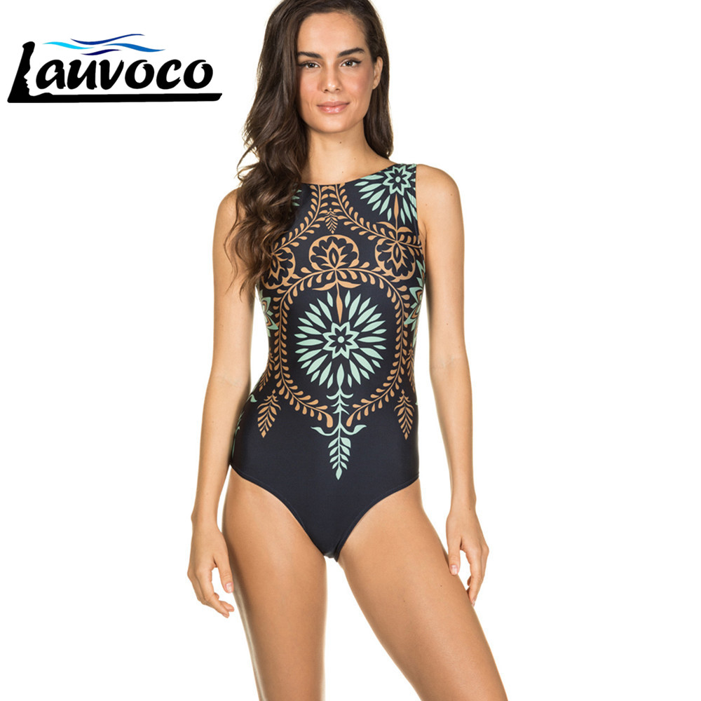 <font><b>Sexy</b></font> Black <font><b>One</b></font> <font><b>Piece</b></font> <font><b>Swimsuit</b></font> Print <font><b>2019</b></font> Swimwear <font><b>Women</b></font> High Neck Bodysuit Push Up Bathing Suit for Beach or Pool Lady Monokini image