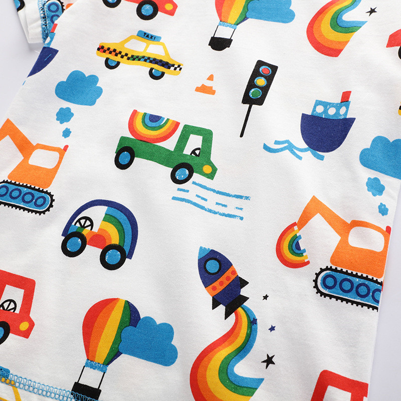 Jumping meters New 2020 Cartoon Boys Girls Tees for Summer 100% Cotton Baby Clothing Short Sleeve T shirts Cute Rockets Print 6