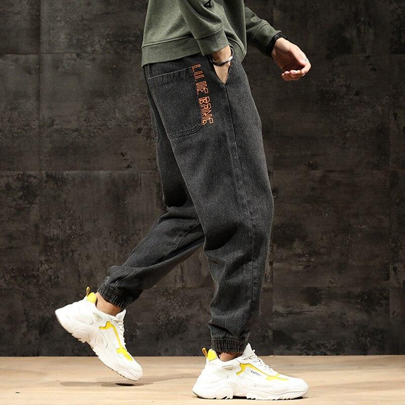 Japanese Fashion Men Jeans Loose Fit Black Gray Vintage Designer Cargo Pants Harem Trousers Streetwear Hip Hop Jogger Jeans Men