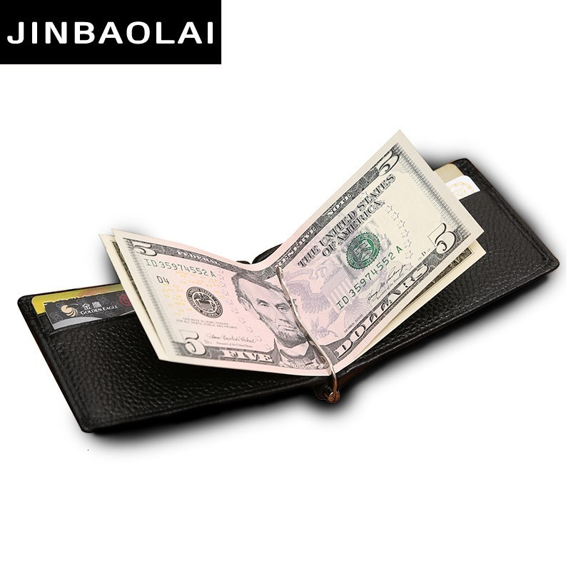 Fashion Leather Wallet Brand Men's Money Clip Genuine Cow Leather Credit ID Holders For Men Retro Money Case Male Bifold Wallets