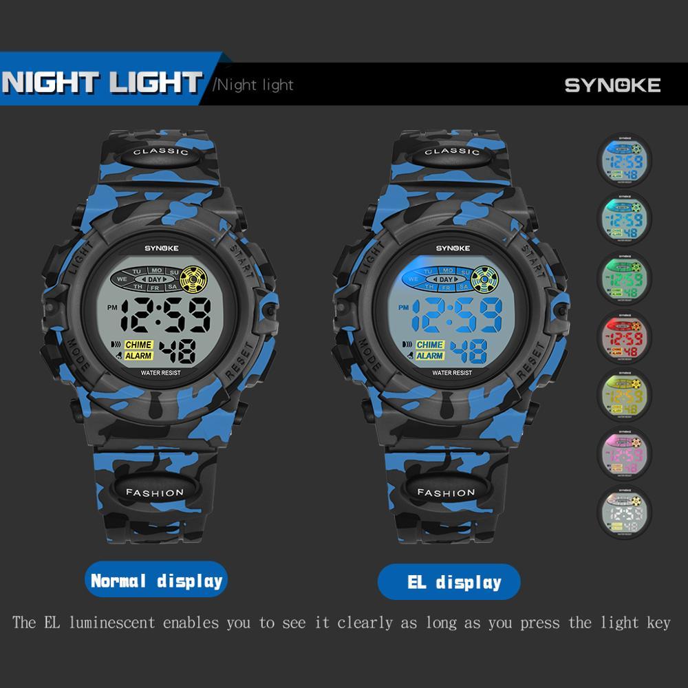 Купить synoke военные спортивные детские цифровые наручные часы камуфляжные