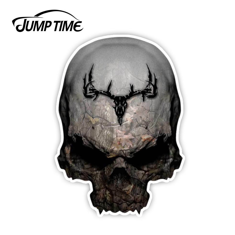 Jump Time 13cmx9.2cm Camouflage Skull Decal Archery Hunting Truck Bow Treestand Whitetail Sticker Window Decal Laptop Car Covers