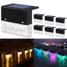4/6pcs LED Solar Lamp Path Stair Outdoor Waterproof Wall Light Garden Landscape Step Stair Deck Lights Balcony Fence Solar Light