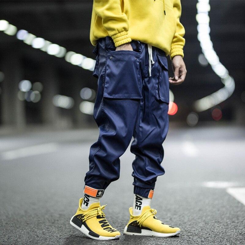 Multi-pocket Harem Pants Men Streetwear Punk Cargo Pant Hip Hop Casual Trousers Joggers Male Black Blue Pants