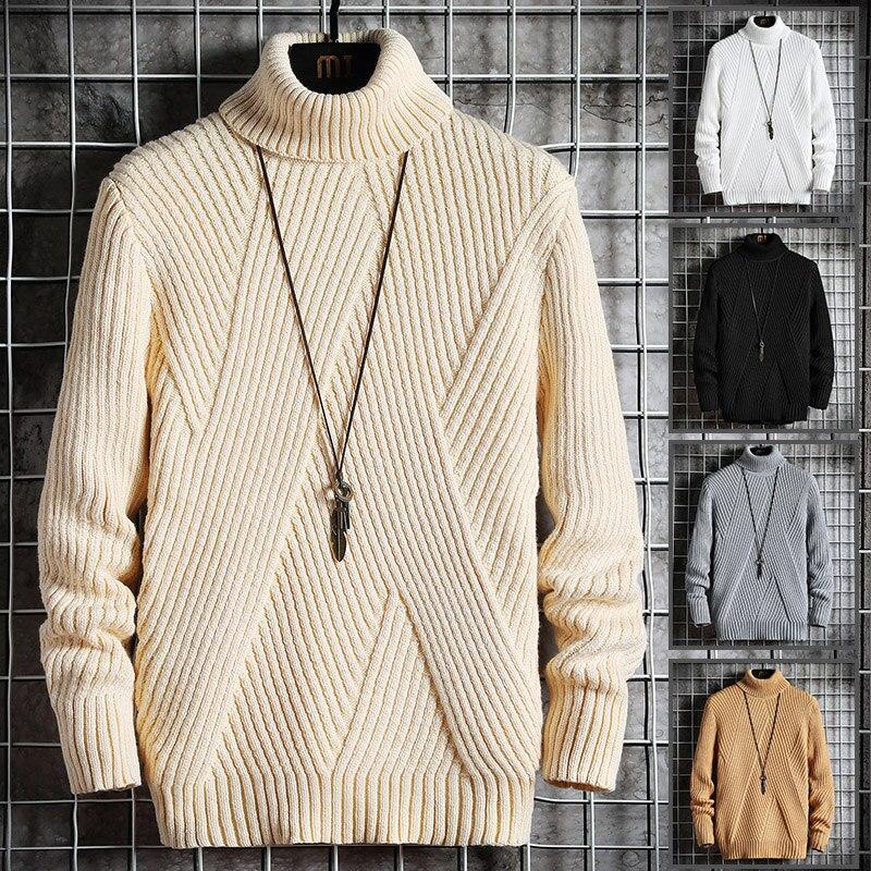 2020 Fall/Winter Men's Turtleneck Sweater Korean Slim Young Student Turtleneck Lapel Sweater Sweater Knitted Base Shirt Trend 2