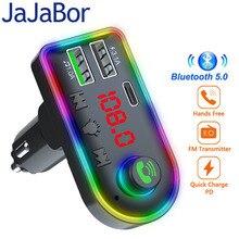 JaJaBor nadajnik FM Bluetooth 5.0 samochodowy zestaw głośnomówiący Stereo Audio odtwarzacz MP3 z szybką ładowarką 3.1A PD bezprzewodowy Modulator FM