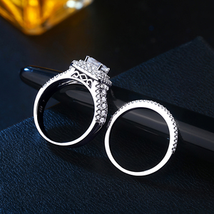 Image 2 - Newshe 925 スターリングシルバーハロー女性のためのエレガントなジュエリープリンセスクロスカットキュービックジルコニア婚約指輪