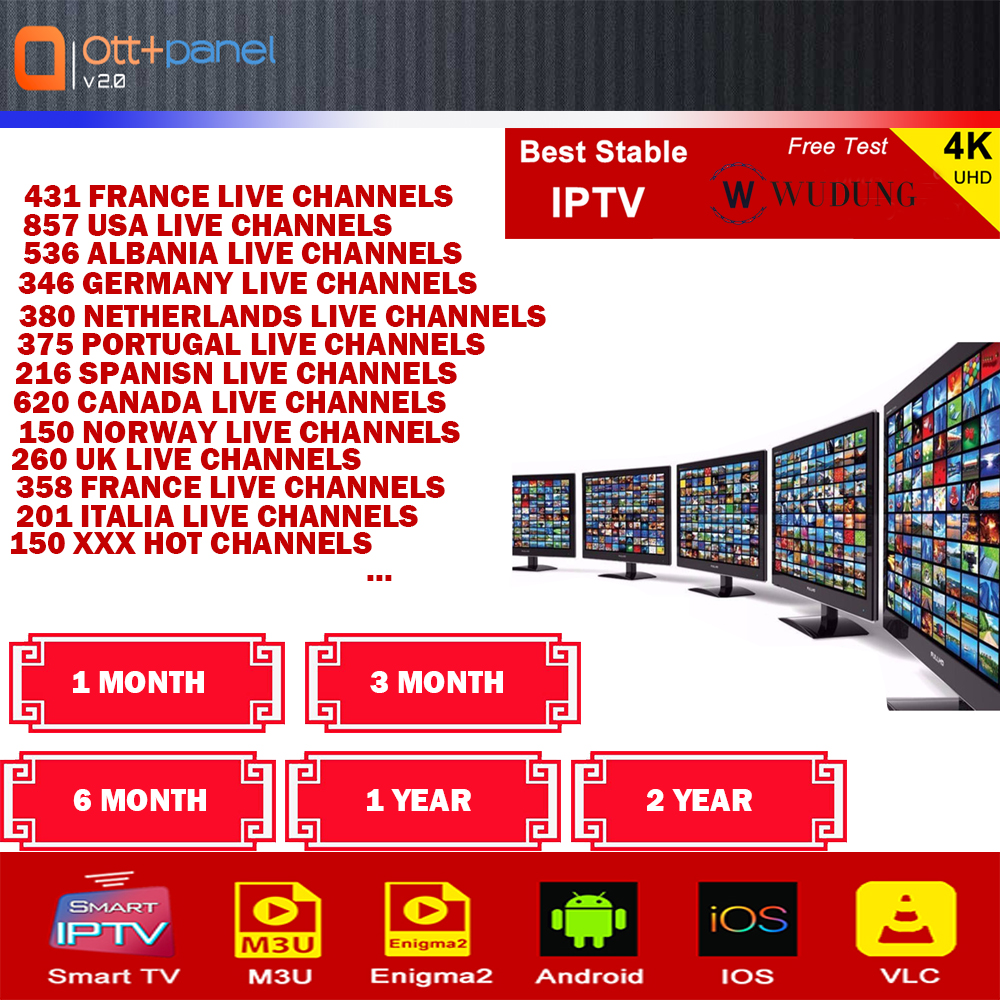 OTT European 8000+Channels IPTV Subscription France Portugal Albania Netherlands UK Canada Adult IPTV M3U Smart Android TV Box