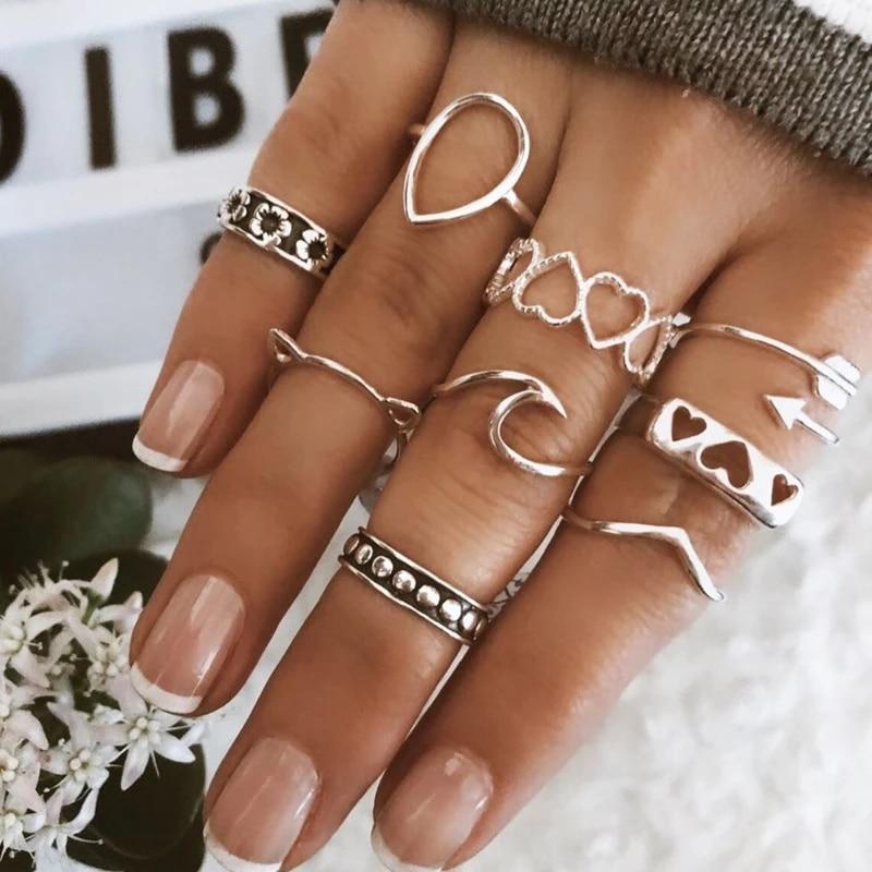 Details about  /Retro 8Pcs// Set Silver Boho Fashion Arrow Heart Waves Midi Finger Knuckle Rings