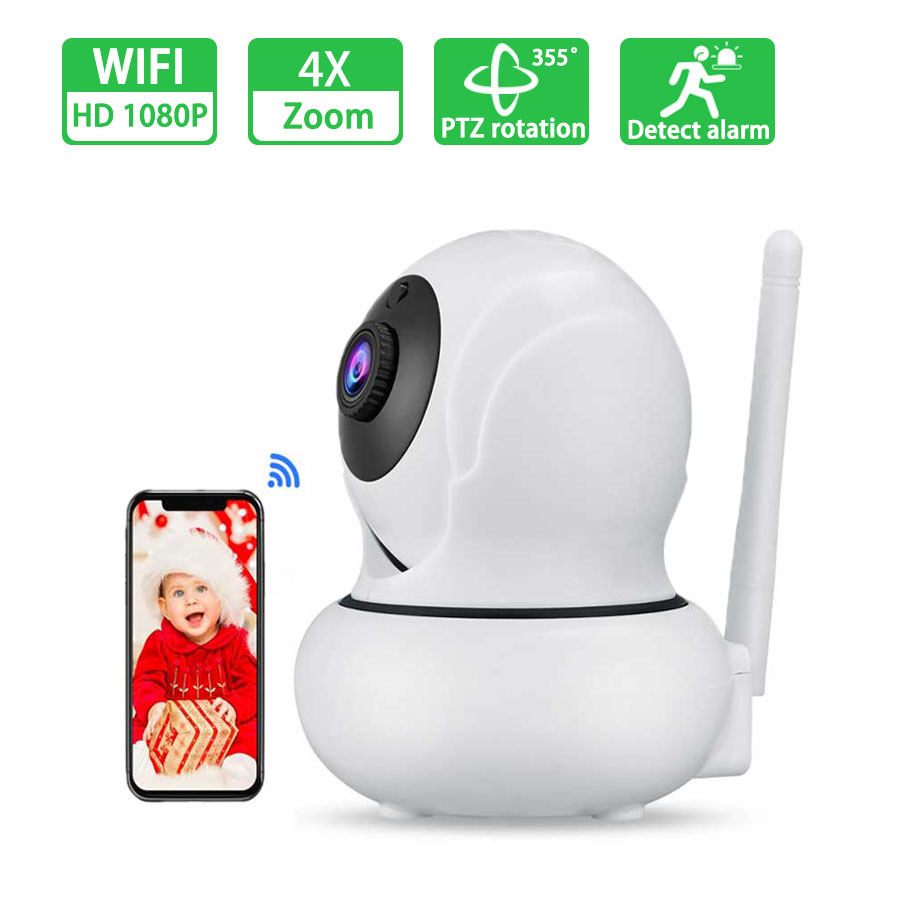 1080P WiFi IP Camera HD Baby Monitor Smart 4x Zoom Rotation Automatic Tracking Camera Indoor Security Surveillance Wireless Netw