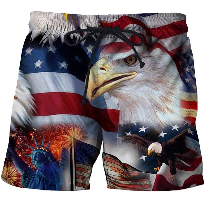 New Casual USA Design Sport Shorts Homme 3D Printed Surfing Shorts Summer Cool Beach Shorts For Male Board Shorts