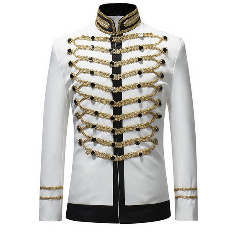 Oeak 2019 Vintage Blazers Retro Steampunk Gothic Suit Jackets  Stage Costume For Party Mens Black White Luxury Coat