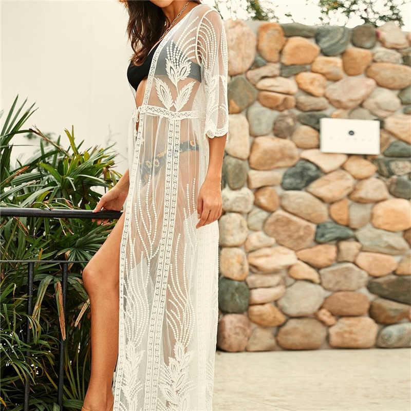 2020 Transparan Putih Renda Tunik Beach Cover Up Plus Ukuran Wanita Pakaian Renang Seksi Melihat Melalui Bikini Cover-Up Jubah de Plage Q859