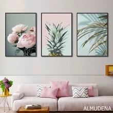 Скандинавский плакат розовый цветок зеленый синий лист художественные настенные картины для гостиной Современное украшение дома ананас, холст живопись