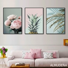 Nordic Poster Pink Flower Green Blue Leaf Art Wall Pictures for Living Room Modern Home Decoration Pineapple Canvas Painting цена