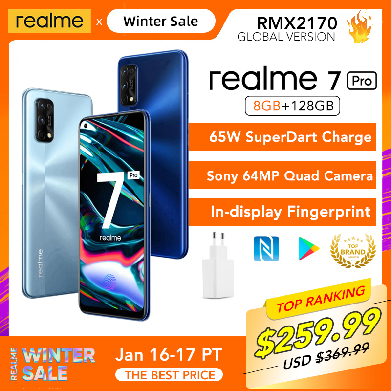 Realme 7 Pro глобальная Версия 8 Гб Оперативная память 128 Гб Встроенная память 65 Вт SuperDart заряда 64-мегапиксельная четырехъядерная камера AMOLED в пол...
