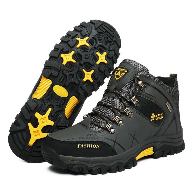 Брендовые мужские зимние ботинки; теплые супер мужские высококачественные Водонепроницаемые кожаные кроссовки; мужские походные ботинки; Рабочая обувь; размеры 39-47