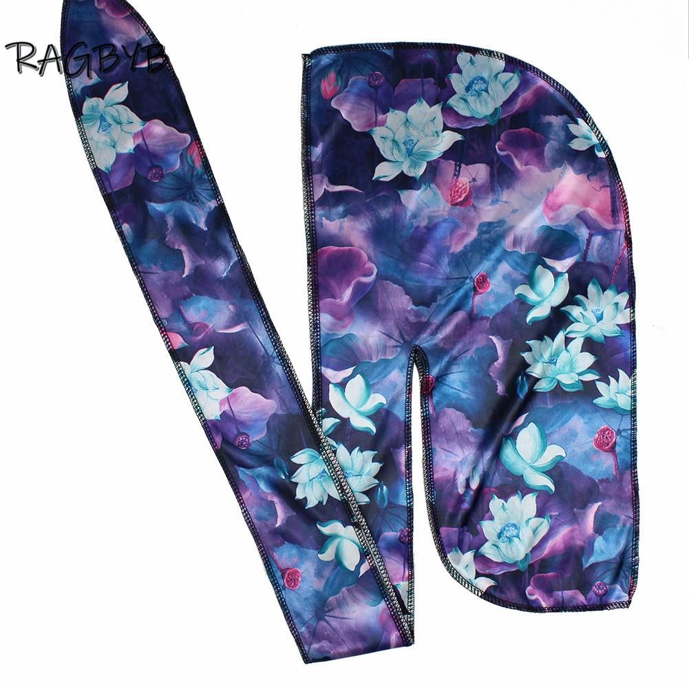 Высококачественные толстые шелковые банданы Durag с цветочным принтом, шелковые банданы для мужчин, шапка для волнистых волос с длинным хвост...