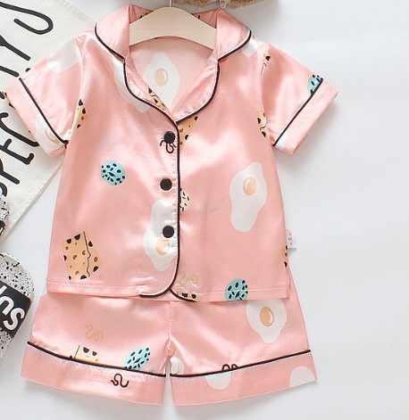 Pyjama d'été en soie pour bébés   Costume ours nouveau-né, vêtements de fille en bas âge, ensemble de vêtements de nuit pour garçons, ensemble survêtement pour enfants