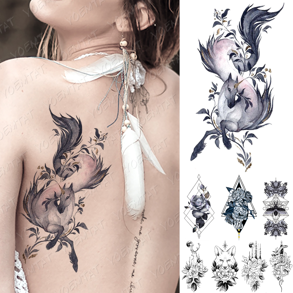 Waterproof Temporary Tattoo Sticker Unicorn Rose Peony Moth Tattoos Snake Fox Deer Body Art Arm Fake Sleeve Tatoo Women Men
