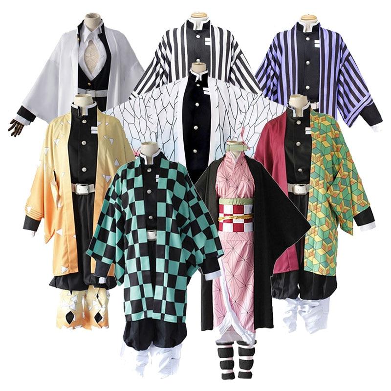 Anime kimetsu não yaiba demônio slayer cosplay traje kamado tanjirou kamado nezuko agatsuma zenitsu tomioka giyuu cosplay anime