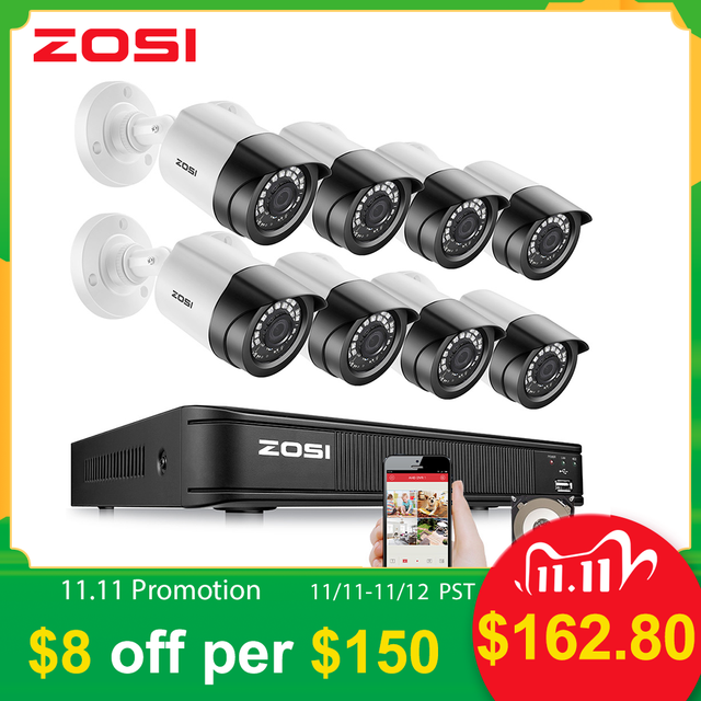 ZOSI 8CH H.265 2MP 1080P Video Surveillance System AHD Nightvision Waterproof Bullet HDD Security Cameras DVR CCTV Kit