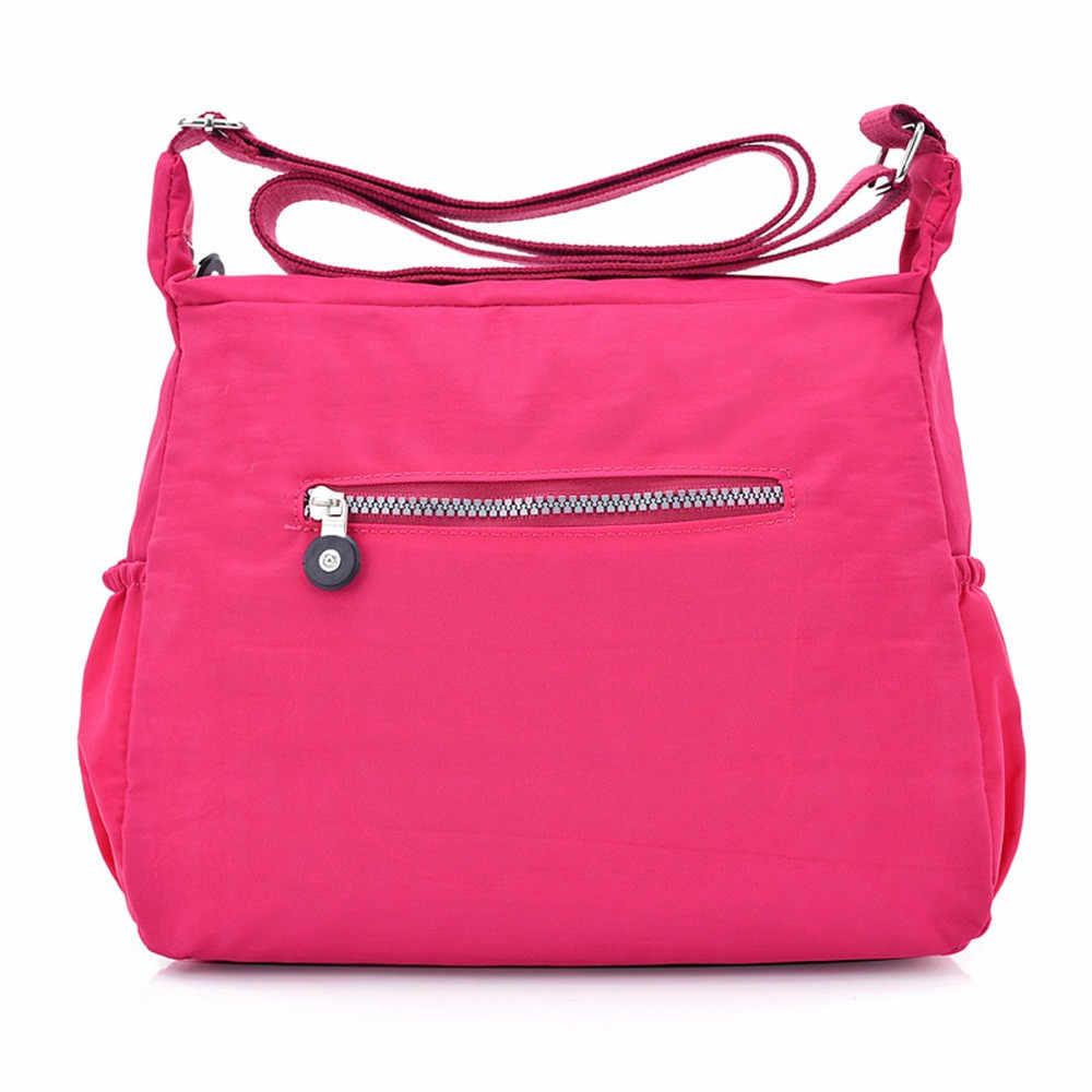 Damskie torebki na ramię kobiece jednolity, na zamek luksusowe torebki damskie projektant torebki nylonowe letnia torba Crossbody na plażę Sac A Main