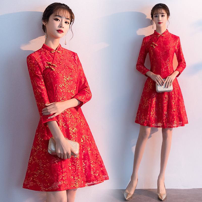 8529 Spring And Summer New Style Women's Retro Short Slim Fit Lace Improved Cheongsam Dress