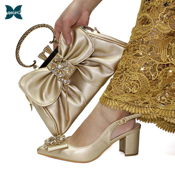 2020 Latest Fashionable Italian design Shoes and Bag Set Decorated with Rhinestone African Shoe and Bag Set in Gold Color
